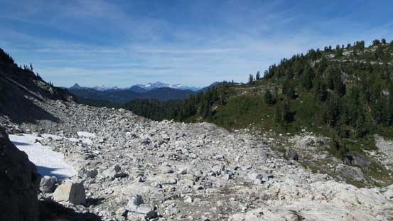 A view from where I ditched gears. This is that boulder field I just crossed
