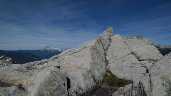 The true summit granite which required a few moves to get up.