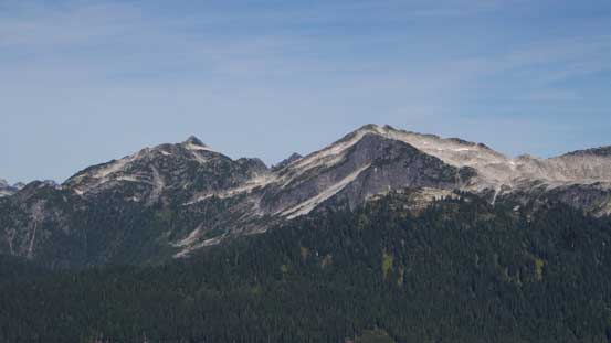 The unofficially named Pinecone Peak and Seed Peak