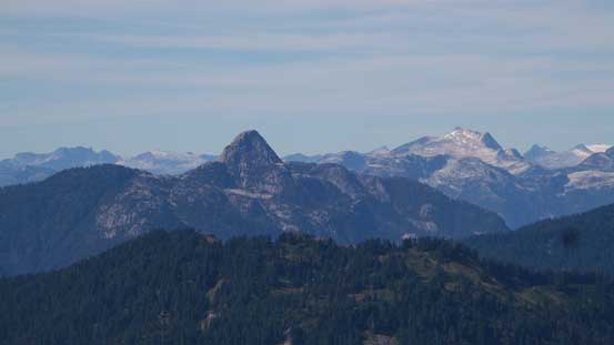The striking Mt. Habrich with Mt. Sedgwick in the background on right skyline