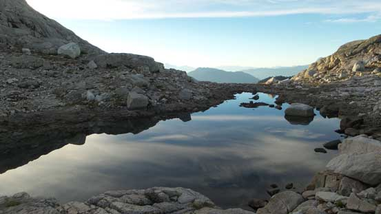 This tarn would also be a perfect bivy spot, but I ignored it and continued on...