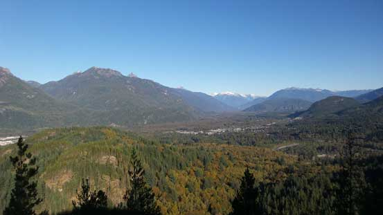 Looking up the district of Squamish and the valleys