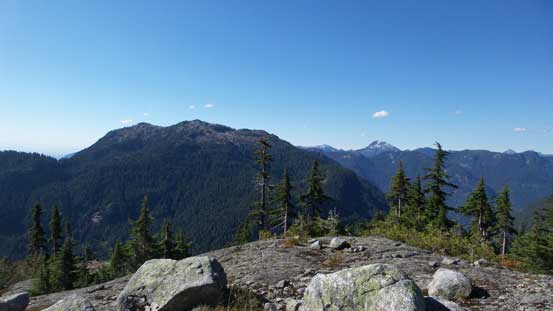 "Looking back towards the unofficially named ""Hixon Peak"" and beyond"