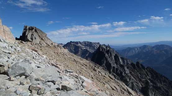Looking sideways across. Sherpa Peak on bottom right