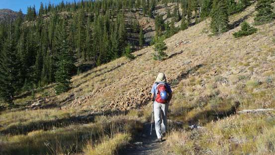 Descending the trail.