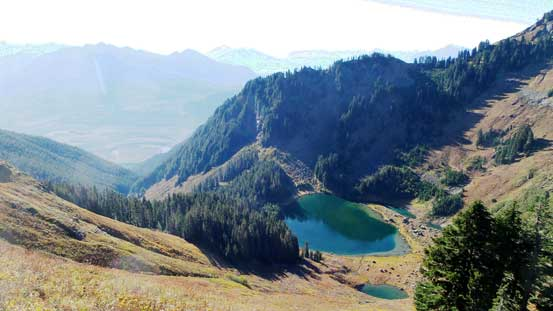 Sauk Lake and the deep cirque in the basin