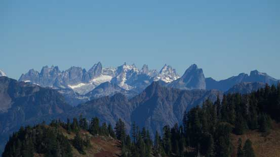 The very jagged Picket Range - Mt. Terror is the tall pinnacle left of center. Mt. Triumph is the pointy one in the foreground.