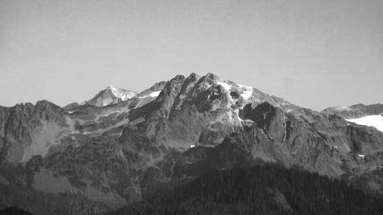 A closer look at Bacon Peak, with Mt. Blum poking behind its left shoulder.