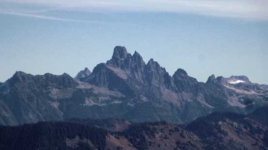 A zoomed-in view of Slesse Mountain. The easiest route (5.6) goes up this face...
