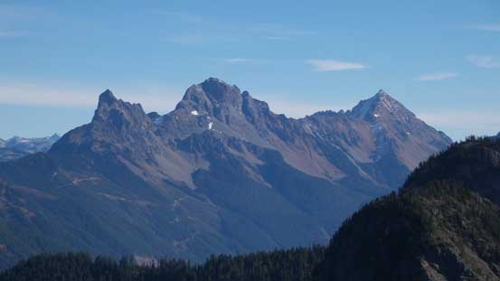 From L to R: Canadian Border Peak, American Border Peak and Mt. Larabee