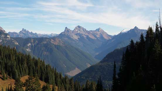 The Border Peaks and Mt. Larabee looms behind the headwater of Tamihi Creek