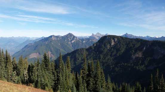 Peaks on the east side of Tamihi Creek - Mt. McGuire, Border Peaks, Mt. Larabee.