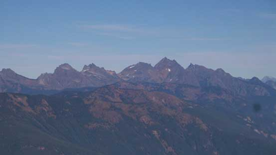 A zoomed-in view of the peaks on Cheam Range