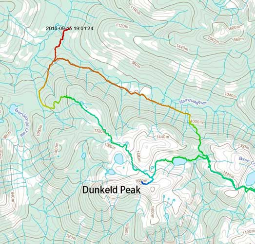 Dunkeld Peak ascent route