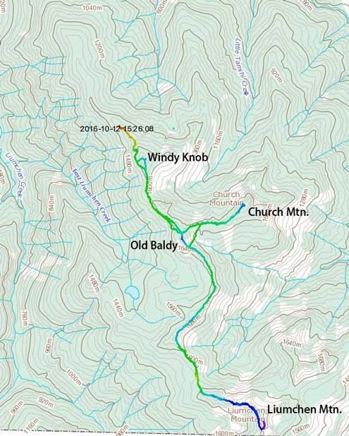 Ascent route for Liumchen, Church, Old Baldy and Windy Knob