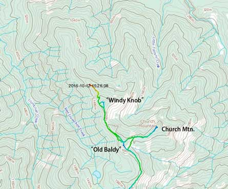 "Ascent routes for ""Old Baldy"", ""Windy Knob"" and Church Mountain"