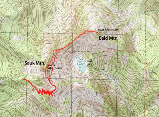 Sauk Mountain and Bald Mountain scramble route