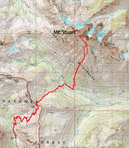 Mt. Stuart ascent route via Cascadian Couloir