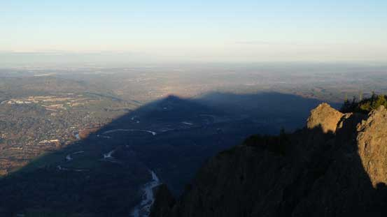 The shadow of Mt. Si casting on Snoqualmie River Valley
