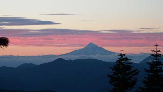 Mt. Hood looms on the southern horizon