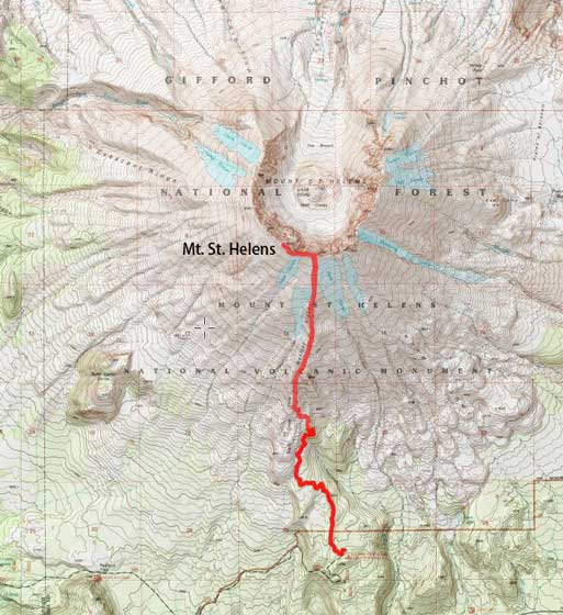 Mt. St. Helens ascent route via Monitor Ridge