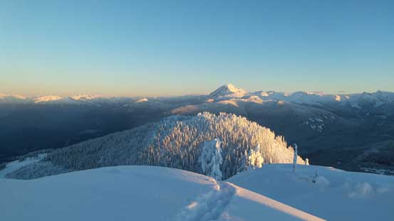 Mt. Garibaldi massif rises behind the forested bump of Mt. Mulligan