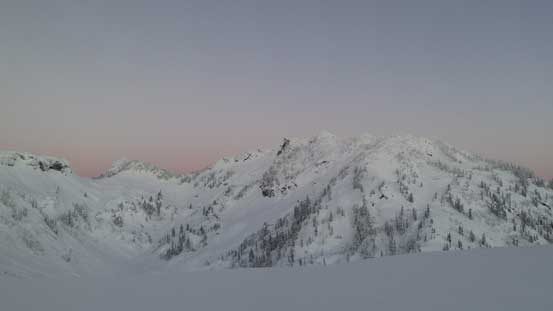 Mazama Dome and Mt. Herman before sunrise.