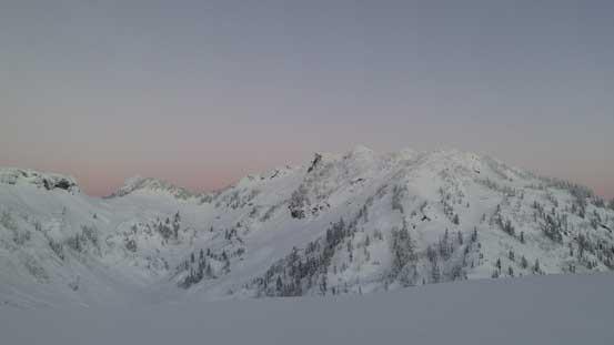 Mazama Dome and Mt. Herman before sunrise.