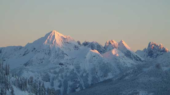 Alpenglow on Mt. Larabee, The Pleiades and Slesse Mountain