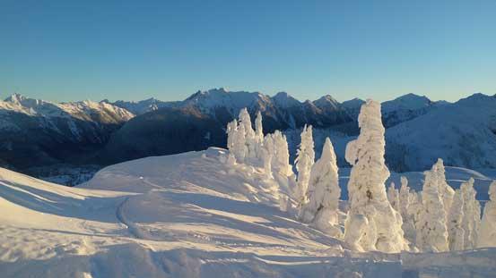 Looking back, Mt. Sefrit at center background