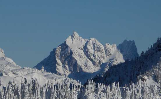 A zoomed-in view of Canadian Border Peak - apparently not an easy peak