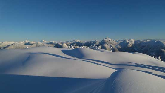 The pristine snowfield on the summit of Goat Mountain