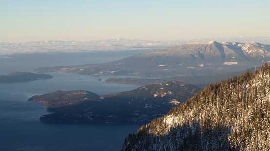 The Howe Sound islands, with Mt. Elphinstone behind on the right skyline