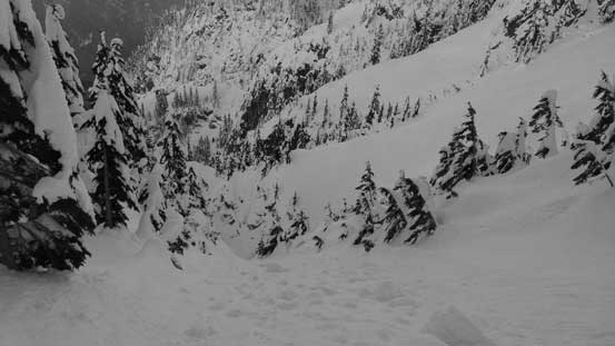 This was looking down from the traverse across the first bowl