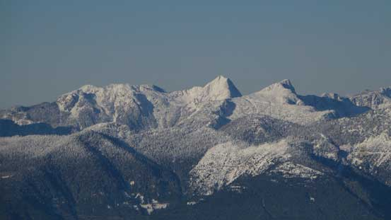 Tetrahedron Peak at center with Rainy Mountain to its right and Mt. Steele to its left