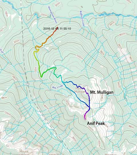 Anif Peak and Mt. Mulligan winter ascent route