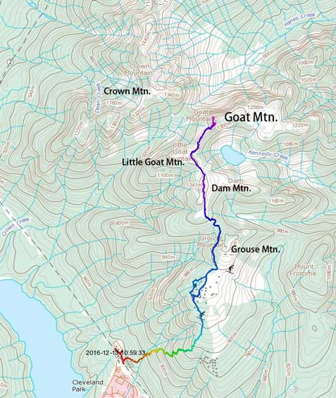 Ascent route for Dam, Little Goat and Goat Mountain