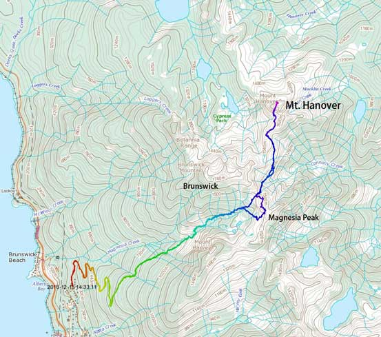 Ascent route for Magnesia Peak and Mt. Hanover via Magnesia Meadows