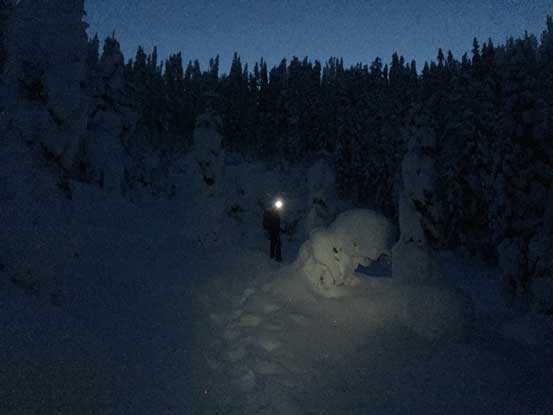 Ascending to Anif/Mulligan col. Still pitch dark now.