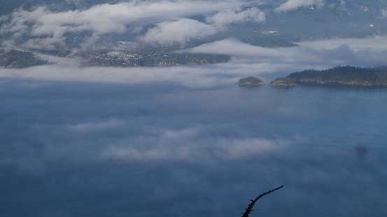 Low clouds hovering above Howe Sound