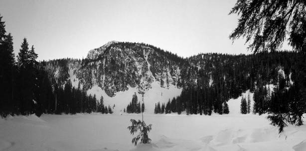 A panorama from MacKay Lake. My objective is behind