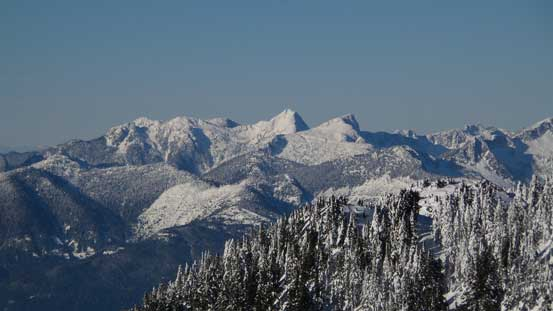 Tetrahedron Peak is one of the taller peaks along Sunshine Coast