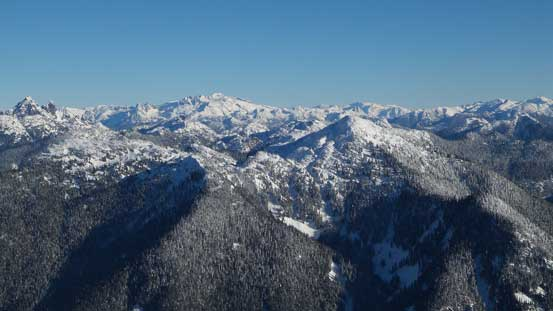 Looking northeastwards and Capilano Mountain in the foreground