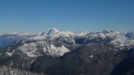 The bulky Mt. Garibaldi massif and the rugged Sky Pilot Group are always eye-catching