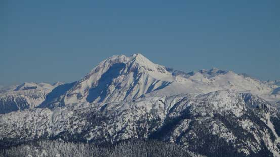 A zoomed-in view of Atwell Peak/Mt. Garibaldi massif
