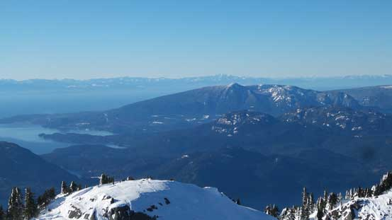 Looking over Mt. Elphinstone towards distant peaks by Vancouver Island