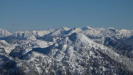 Looking over Capilano Mountain (foreground) towards the distant peaks by Stave Glacier