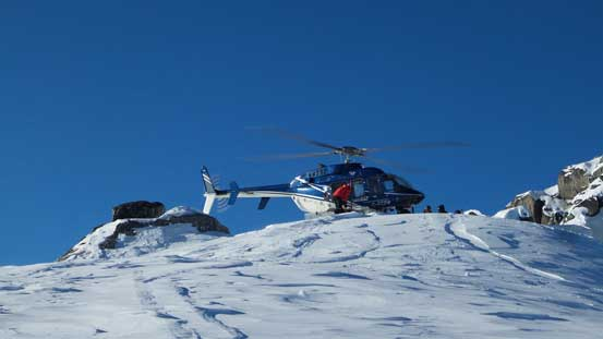 A chopper landing. This is an area popular for heli-skiing companies