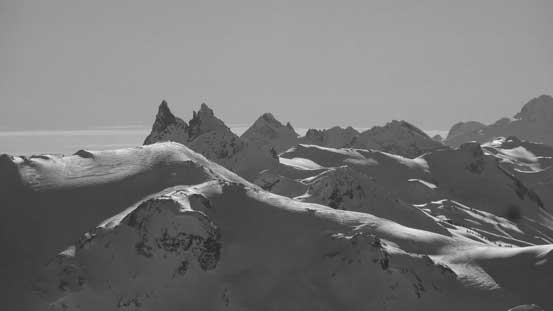 The very evil-looking twin towers of Mt. Fee. That N. Face of N. Tower looks damn steep...
