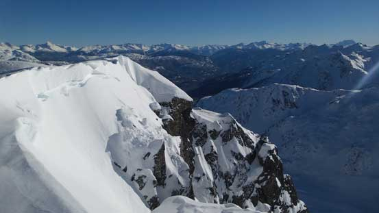 This picture shows the south side of Journeyman Peak being some steep cliffs..
